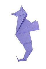 Abstract origami sea horse isolated on a white backgrounds