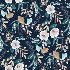 Wall Mural - Vector illustration of seamless floral pattern in spring for Wedding, anniversary, birthday and party. Design for fabric, wallpaper, picture frame, poster