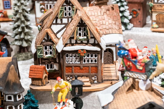 Little ceramic houses - candle holders, sold at the Christmas market. Berlin. Germany