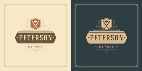 Restaurant logo design vector illustration knifes silhouettes good for restaurant menu and cafe badge