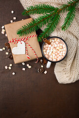 Hand crafted christmas gift wrapping without plastic,  hot Chocolate drink and Marshmallows. Eco-friendly gift.