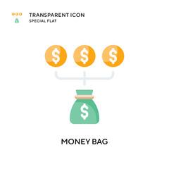 Money bag vector icon. Flat style illustration. EPS 10 vector.