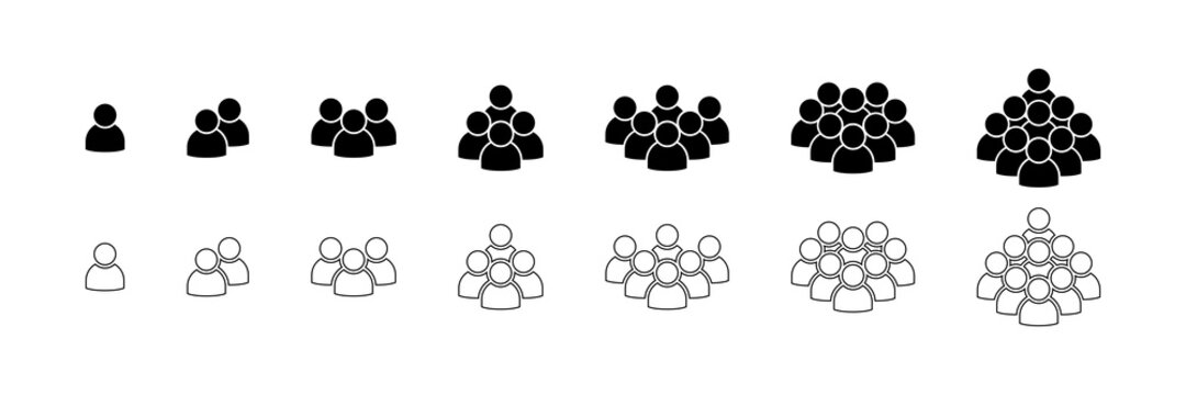 People. People icons in modern simple flat and lines design. People black vector icon, isolated. Persons for web design, app and ui. Vector illustration