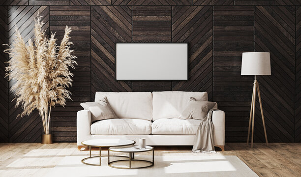 Blank picture frame in modern luxury living room interior with beige sofa and decorative wood wall panel with parquet floor, floor lamp, living room interior background mock up, 3d rendering