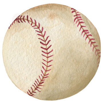 Watercolor sport baseball ball on the white isolated background.