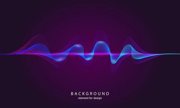 Music abstract background. Digital technology equalizer. Sound wave pattern element. Pulse. Cardiogram. Particles equalizer sound wave big data design. Dynamic light flow. Vector illustration.