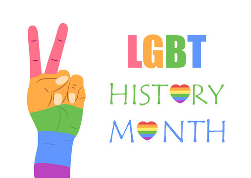 LGBT history month concept vector for banner, poster, web. Heart is painted in LGBT pride colors.
