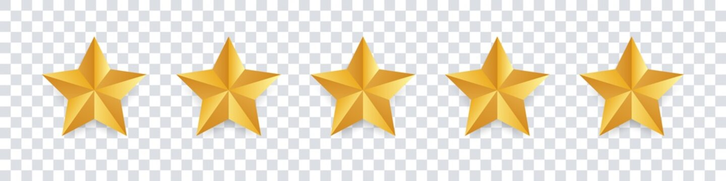 Star icon. Vector golden isolated five stars. Customer feedback concept. Vector 5 stars rating review. Quality shape design.