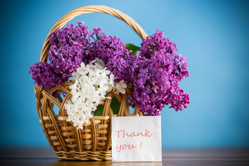 Printed roller blinds Lilac bouquet of beautiful blooming lilacs in a basket