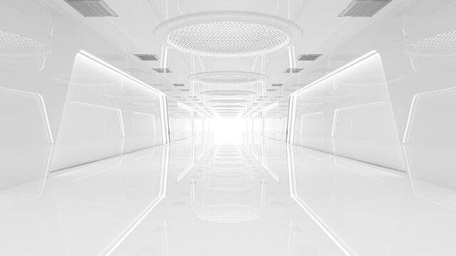 Spaceship or science lab, sci-fi corridor white color , 3D render.
