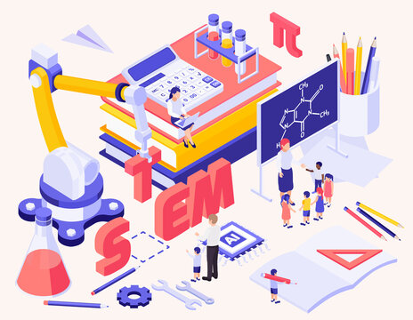 STEM Education Isometric Background