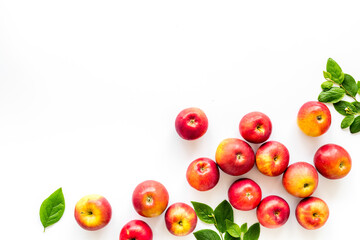 Layout of fresh red apples. Top view, copy space