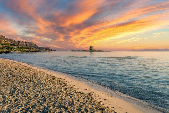 Landscape of La Pelosa beach at dramatic sunset
