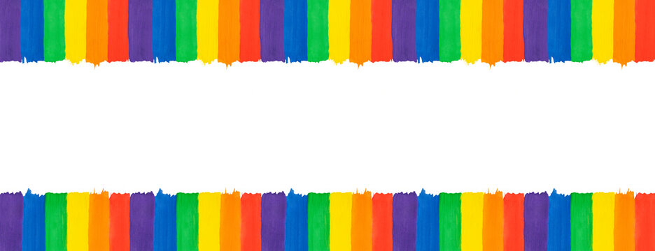 Lgbtq banner with copy space. Abstract background in rainbow colors. Gay pride LGBT flag.
