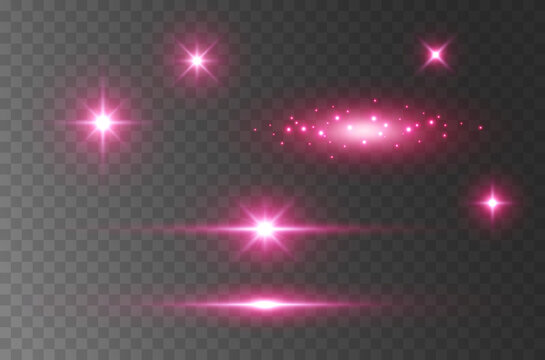 Flare light effect isolated on transparent background. Pink flash lense rays and spotlight beams set. Glow star burst with sparkles
