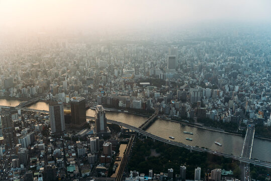 Japan, Tokyo, View from Tokyo Skytree at sunset