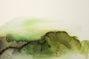 Art Abstract  watercolor flow blot painting. Color green and gold marble texture background....