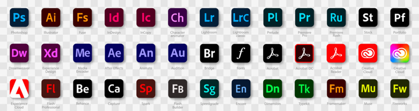 Adobe Products icons. Photoshop. Illustrator. Lightroom. InDesign. Adobe programs logos collection. Vector