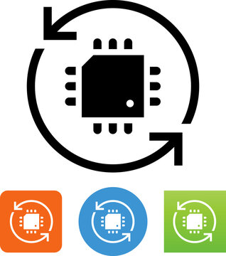 Firmware Update CPU Chip Arrows Vector Icon