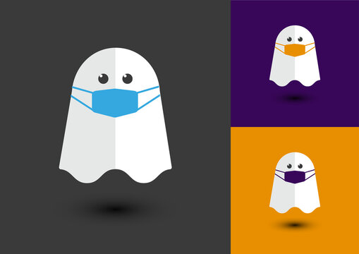 Vector Ghost with face mask on for Halloween
