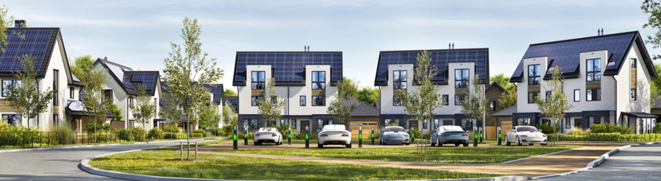 Residential estate with solar panels on the roof. Electric car parking