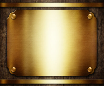 Wooden award plaque with gold plates 3d illustration