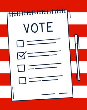 Vote document Bulletin concept. Cute cartoon list, choice of options and pen. Voting choice election concept. Doodle hand drawn style. Vector colored illustration on american flag background