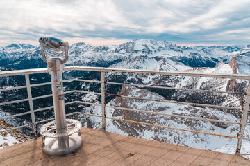 Scenic binocular point of view on Alpine landscape above Cortina Italy. Italian winter holiday destination icon, iconic snowy Dolomites mountains panorama