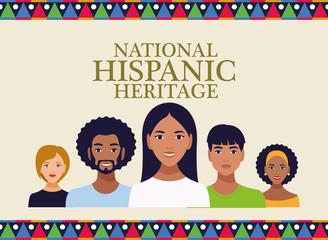 Obraz national hispanic heritage celebration with people and lettering - fototapety do salonu