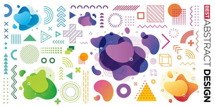 Set of Abstract Modern Graphic Elements