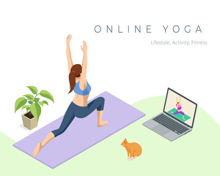 Isometric sporty young woman doing yoga practice. Fitness instructor taking online yoga classes over a video call in laptop. Healthy life concept.