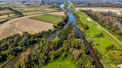 Fototapeta ujście rzeki Olza do Odry z lotu ptaka, granica Polsko-Czeska obraz