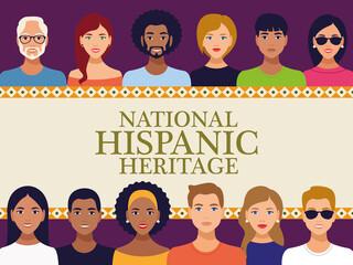 Fototapeta national hispanic heritage celebration lettering with team people in square frame obraz