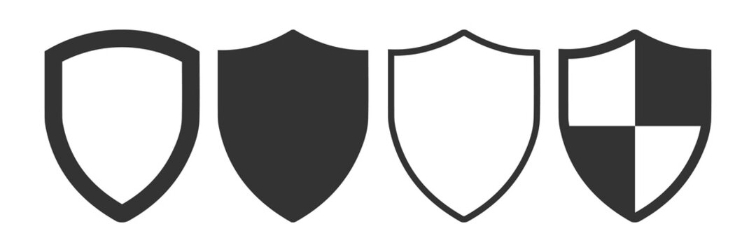 Set of template shaped badge. Shield and protection flat icon.