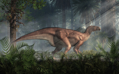 One of the best known dinosaurs, Iguanodon was a ornithopod that lived during the Cretaceous period in what is now Europe around 125 million years ago. Herbivorous, it could walk on two or four legs.