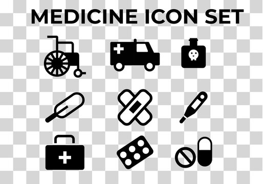 medicine icon set on format PNG