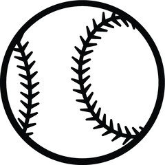 Baseball ball silhouette vector illustration isolated on white background. Ideal for logo design element, sticker, car decals and any kind of decoration.