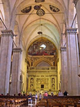 Marche, Loreto Santa Casa basilica (Holy House) ancient interiors.