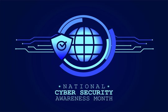 National Cyber Security Awareness Month is observed in October in USA. Hud elements, global icon, concept vector for greeting card, poster and banner website.
