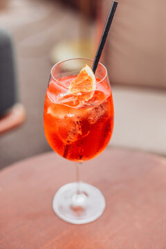 A cold glass of Italian cocktail - Spritz - traditional aperitif