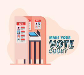 voting booth with make your vote count text vector design