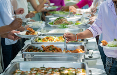 buffet food, catering food party at restaurant, mini canapes, snacks and appetizers