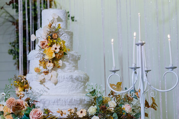 Beautiful wedding cake with blur background