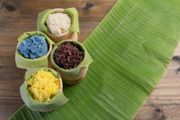sticky rice on wood table background