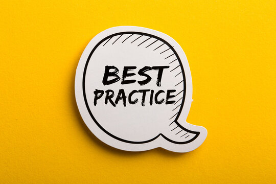 Best Practice Speech Bubble Isolated On Yellow Background