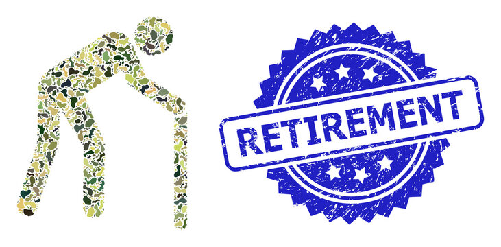 Grunge Retirement Seal and Military Camouflage Composition of Retired Person