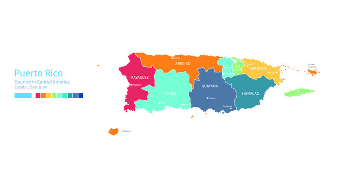 Puerto Rico map. Colorful detailed vector map of the Central America, Caribbean country.
