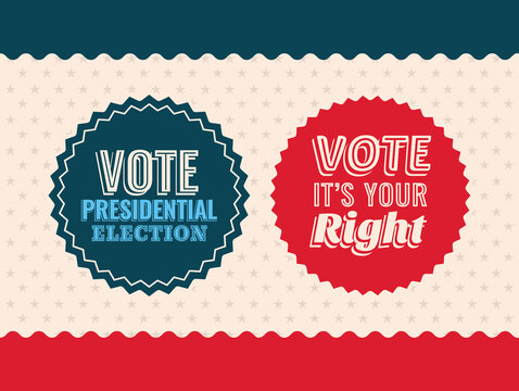 two vote seal stamps on starry background vector design