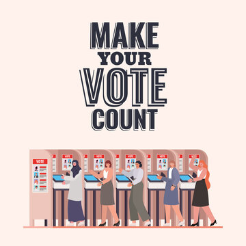 women at voting booth with make your vote count text vector design