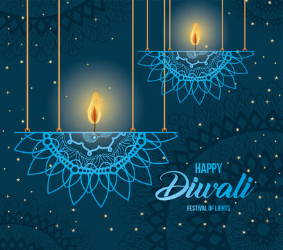 Happy diwali hanging mandalas candles on blue background vector design